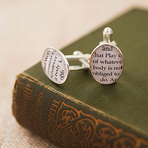 Book Excerpt Cufflinks - book-lover