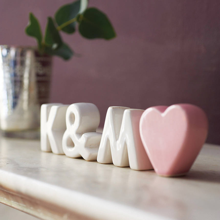 Personalised Ceramic Initials With Heart By The Gift