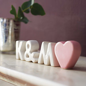 Personalised Ceramic Initials With Heart - personalised wedding gifts