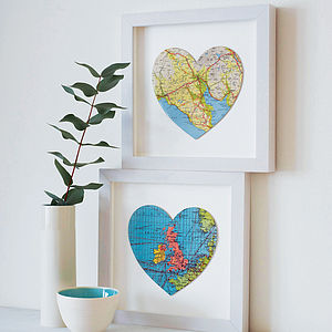 Personalised Map Location Heart Print - gifts for him