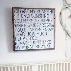 'You Are My Sunshine' Wooden Art Print - gifts for couples