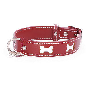 Bones Leather Dog Collar