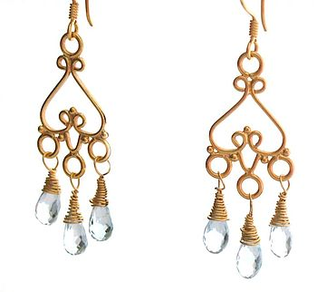 Blue Topaz Gold Chandelier Earrings