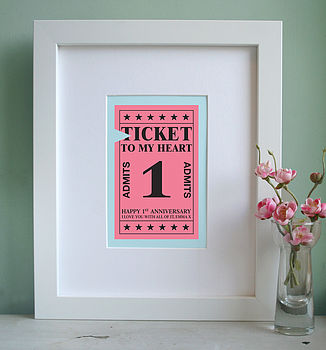 Personalised Ticket To My Heart Art Print
