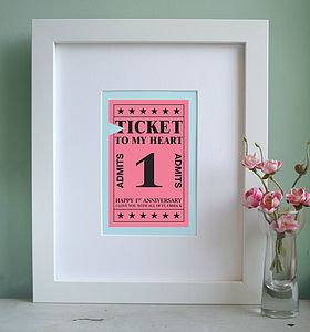 Personalised Ticket To My Heart Art Print - personalised