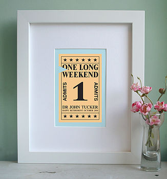Personalised Ticket To Retirement Art Print