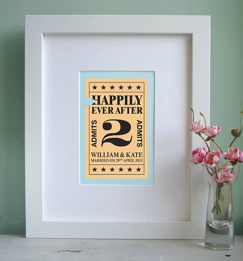 Wedding Gift Quirky : homepage > MODO CREATIVE > PERSONALISED TICKET TO MARRIAGE PRINT