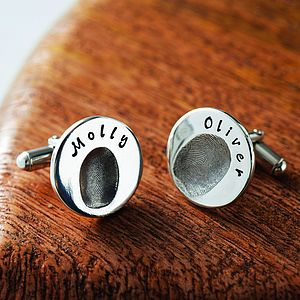 Personalised Round Fingerprint Cufflinks - gifts for him sale