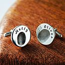Personalised round fingerprint cufflinks