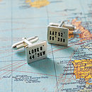 Personalised Location Silver Cufflinks