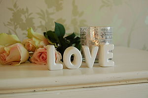 'LOVE' Free Standing Ceramic Letters - decorative letters