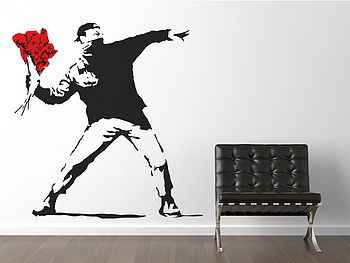 Banksy Flower Thrower Wall Stickers
