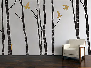 Silver Birch Trees Wall Stickers - living room