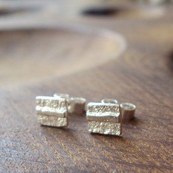 Silver Square Ribbon Stud Earrings