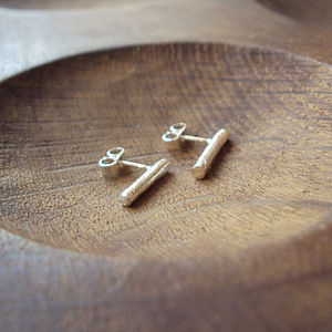 Silver Wire Stud Earrings