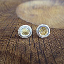 Silver And Gold Petal Stud Earrings