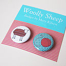 Woolly sheep badges