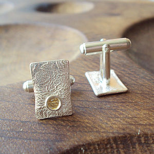 Silver And Gold Rectangle Cufflinks - cufflinks