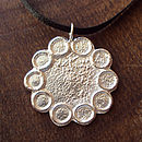 Silver Flower Pendant And Ribbon