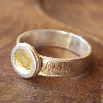 Silver And Gold Petal Ring