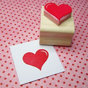 Valentine's Heart Hand Carved Rubber Stamp