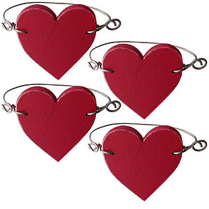 Red Heart Napkin Rings Set Of Four - kitchen