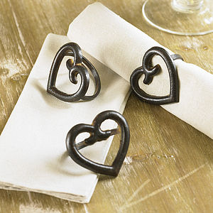 J'adore Luxury Iron Heart Napkin Rings - dining room