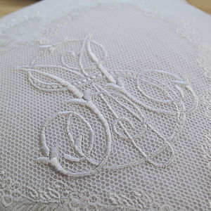 Hand Embroidered Monogram Cushion