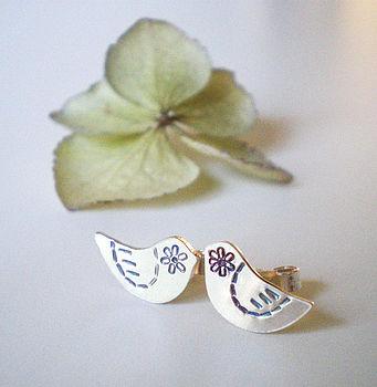 Flower Bird Stud Earrings