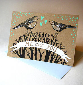 Me And You Hand Printed Card - wedding cards