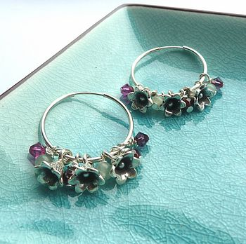 English Garden Bluebell Hoop Earrings
