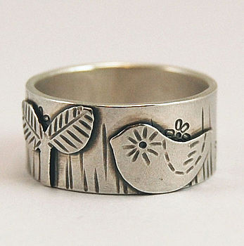 'Bird In The Star Garden' Silver Ring