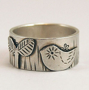 'Bird In The Star Garden' Silver Ring - rings