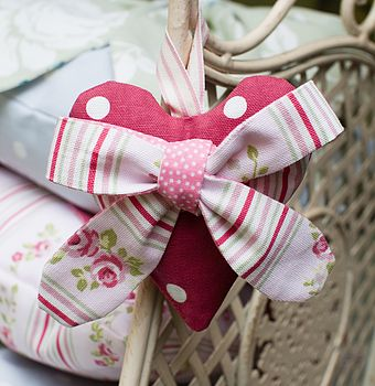 Pink Stripe Bow Lavender Heart