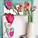 personalised embroidered text 3 hanging hearts (brights)