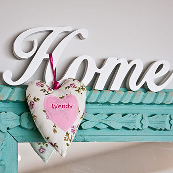 personalised text heart with custom ties (pinks)