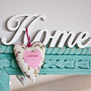 Hanging Heart Personalised Fabric Decoration - table decorations