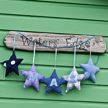 personalised appliqued 5 star garland
