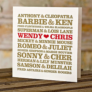 Personalised Couple's Card - anniversary cards