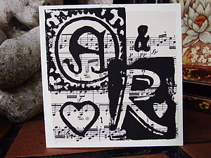 Personalised Initials Card On Vintage Music - wedding, engagement & anniversary cards