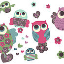 Owls Fabric Wall Stickers