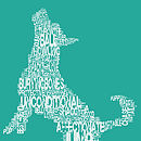 Dog Shape Typographic Text Print - Teal