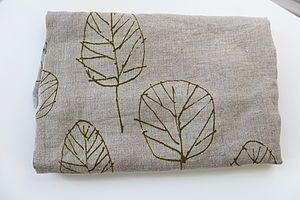 Linen Waist Apron With Leaves