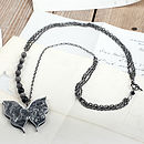 Silver leaf butterfly necklace