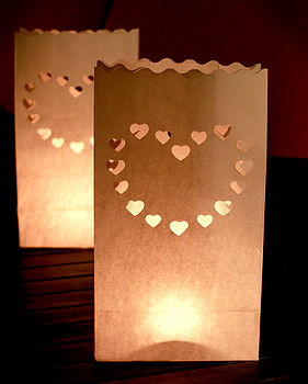 Ten Heart Shaped White Candle Lanterns