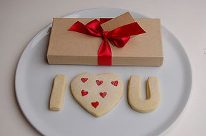 Valentines I Love U Shortbread Biscuits - love tokens