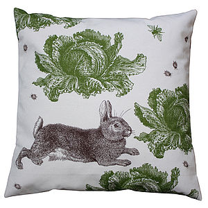 Rabbit And Cabbage Cotton Cushion - cushions