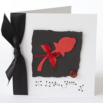 Personalised Red Rose Valentine Card