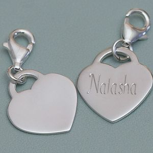 Personalised Sterling Silver Heart Charm - jewellery
