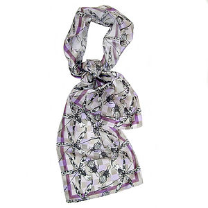 'Blackberry Gumption' Long Silk Scarf